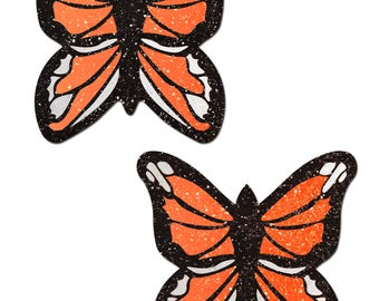 Pasties - Monarch: Glitter Orange & Black Butterfly Nipple Pasties by Pastease® o/s