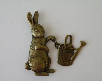 JJ Gardening Rabbit Bunny Easter brooch pin. Articulated