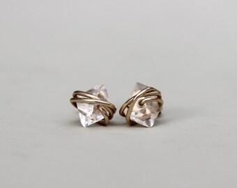 Herkimer Diamond Earrings, Herkimer Diamond Studs, Petite Herkimer Diamond Earrings, Herkimer Earrings, Quartz Studs