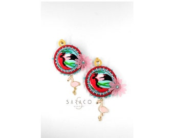 Pink flamingo earrings, soutache dangle earrings, round earrings, handmade, gift for her, red earrings, made in italy, statement earrings