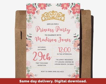Princess Birthday, Princess Birthday Invitation, Princess Invitation Template, Princess Party, Princess Birthday Party, Printable Invitation