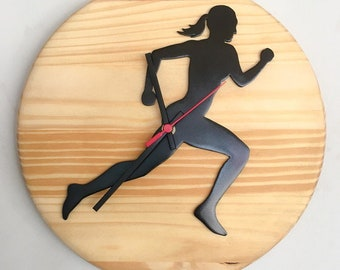 """""""Jogger"""" clock in wood for wall"""