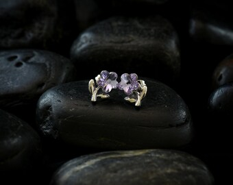 Amethyst Crystal Daisies - Swarovski Crystals finished in a glossy Rhodium finish
