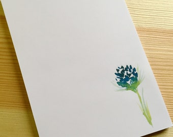 Clover Floral Notepad Stationery - Watercolor Flower Notepad - Personalized or Blank Handmade Navy Blue Clover Notepad - 40 Sheet Notepad
