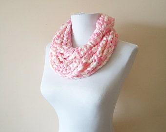 Chain Loop Scarf, Pink White Crochet Loop Scarf, Chain Loop Scarf, Crochet Infinity Scarf, Chain Scarves, Yellow Pink Crochet Scarf