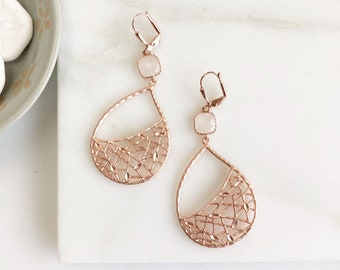 Rose Gold Chandelier Earrings with Cloudy White Stone. Dangle Earrings. Rose Gold Statement Earrings. Gift. Modern Fashion Earrings.