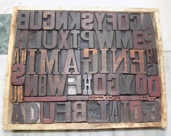 Collage 66 Vintage Letterpress Imagine Wood Type All Letter in Mix size & mix fonts for decoration, craft and many other use.#2