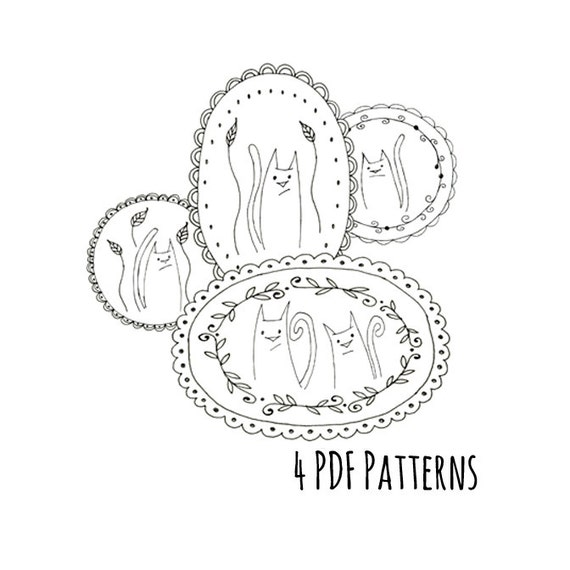 Cat Family Embroidery Pattern Printable Set Of Four Animal