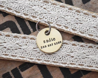 Custom Pet Tag - Brass Hand Stamped Personalized Dog ID Charm - Engraved 1 inch Disc - Cat Collar Tags - Name Phone Number Identification