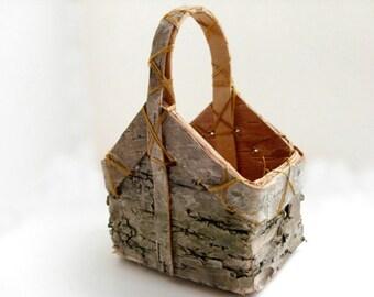"""Birch Basket - Miniature wood basket, rustic wedding favor, 18"""" doll accessory, spring wedding, summer wedding, autumn wedding"""