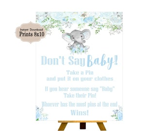 Don't Say Baby, Candy Table Sign, Baby Shower, Birthday Party, Baby Boy, Blue Elephant,Elephant, Flowers, Floral BE101