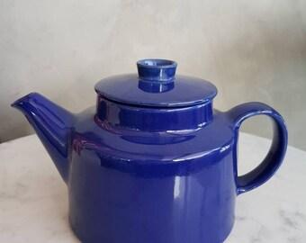 "Arabia Finland ""Kilta"" or ""Teema"" Teapot with Lid. Designed by Kaj Franck. Blue Color"