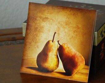 Pears Photo Still Life Photo Golden Pears Lean on Me--5x5 Mini-Print on stand