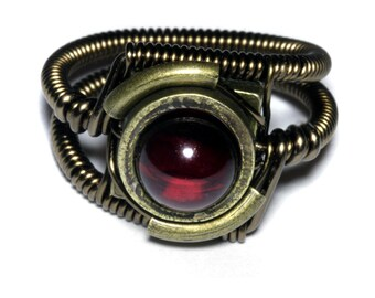 Amber ring, Steampunk Jewelry - Ring - Lab created red cherry Amber