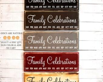 Family Celebrations Sign Birthday Board | Family Celebrations | Birthday Sign | Board with Tags | Rustic Family Birthdays Sign | Birthdays
