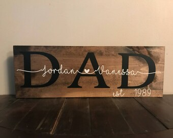 Fathers Day Gift | Fathers Day Sign | Wooden Sign | Personalized Family Sign | Established Family Sign | Fathers Day Gift From Daughter