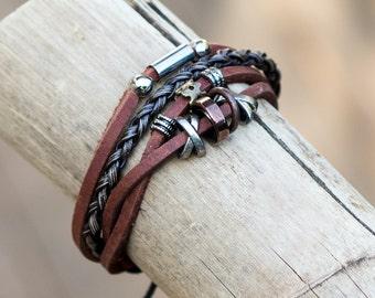 Mens Leather Bracelet // Leather Bracelet For Men // Male Bracelet // Johnny Depp Bracelet // Jewelry For Men // Hippy Bracelet Leather