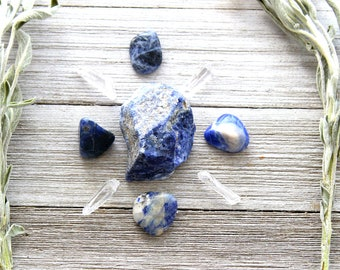 ONE Creativity Crystal Grid Raw Sodalite Blue Calcite Blue Kyanite Stones Reiki Healing Gift Set Under 30 Cool Birthday Gifts For Husband