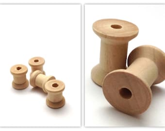 Light raw wood thread spools