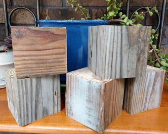 Set of Five Large Square Wood Blocks, 3.5 inches, Primitive, Rustic, DIY, Kids Project, Signs