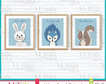 Woodland Animals, Hedgehog, Squirrel, Bunny, 16x20 - 8x10 Printable Wall Art, Instant Download