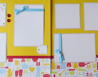 Premade 12x12 Scrapbook Pages -- MOMMY'S LITTLE HELPER -- Cooking/baking in the kitchen, scrapbooking layout, boy or girl, family, mom & me