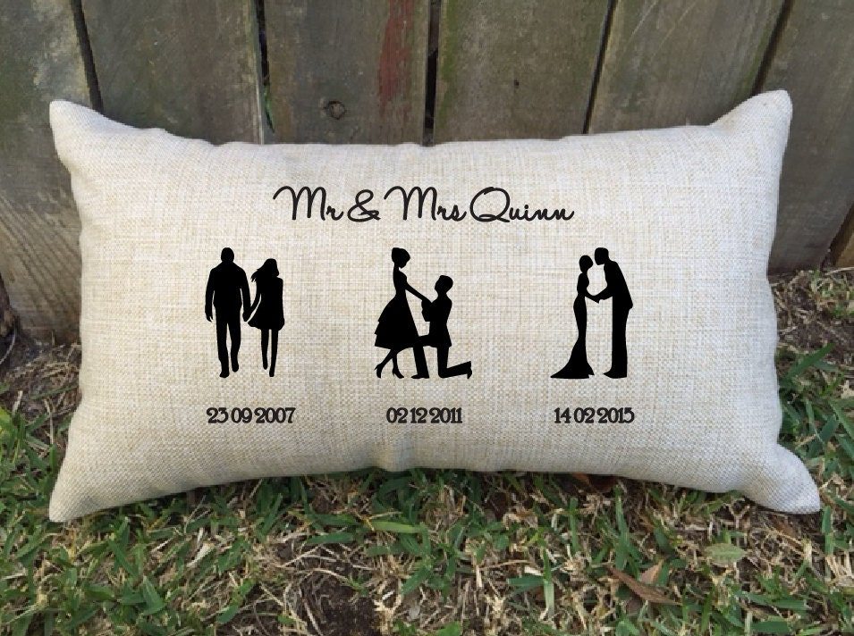 SILHOUETTE TIMELINE couples pillow perfect for bridal shower