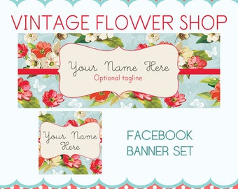 "Facebook Timeline Cover Set Vintage Floral Design - ""Vintage Flower Shop"""