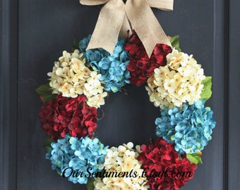 Hydrangea Wreath - Summer Wreath for door - Summer Wreath - Home Decor - 4th of July - Fourth of July