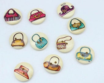 10 x Handbags and Hat Buttons 20mm