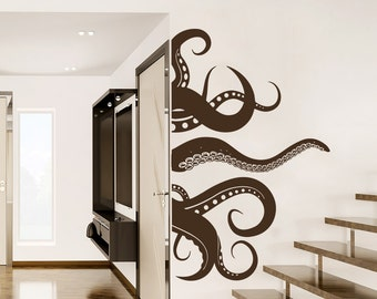 Octopus Wall Decal Vinyl Sticker Decals Tentacles Fish Deep Sea Ocean Animals Nautical Bathroom Home Decor Bedroom NS1012