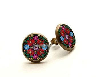 Mexican Art stud earrings, Mexican Folk Art, Mexican Jewelry, Mexican earrings, Mexican Flowers Earrings, Hypoallergenic Earrings