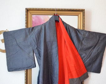 A red surprise-vintage kimono from Kyoto, Japan