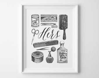 Vintage Bathroom Decor, Wife Gift for Her, Black and White Bathroom Wall Art, Her Vintage Toiletries Print, His and Hers Wedding Shower Gift