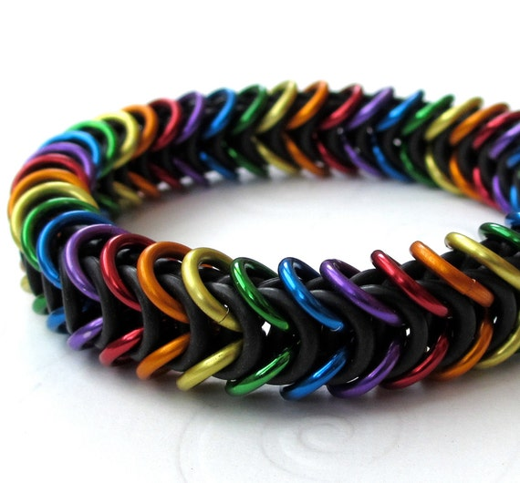 Make A Chain Mail Bracelet: Rainbow Chainmail Bracelet Stretchy Box Weave Gay Pride