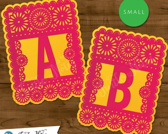Small Pink & Yellow Papel Picado  :  Printable Banner All Letters 0-9 numbers