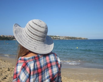 Solid Grey Summer Hat. Lace Crochet Cotton Hat. Women Cloche Wide Brim. Bridesmaid Romantic Hat. Sun Protection Hat by dodofit on Etsy