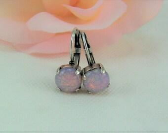 Fire Opal Earrings, Pink Opal Earrings, Lever back Opals, October Birthstone, Fire Opals, Pink Fire Opals, Iridescent Opals, Opal Earrings