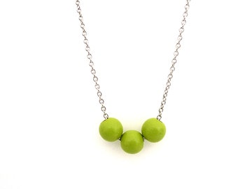 Lime green necklace, natural jewelry, spring jewelry, wood beaded jewelry, simple necklace