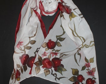 71-17in hand painted silk scarf,Pomegranate gift,Pomegrenete art,white long silk chiffon scarf, summer head cover,Red white scarf
