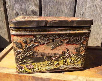 TEA TIN Caravan Antique Russian Very Rare, Beautiful Designs Pictures, Colours Farmhouse Decor or Prop Museum Piece