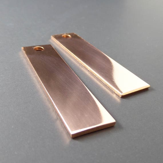 """10 Copper Blanks 1/2"""" x 2"""" Keychain 14 Gauge Polished Rectangle Stamping Blanks Pure Copper 3mm Hole - QTY 10"""