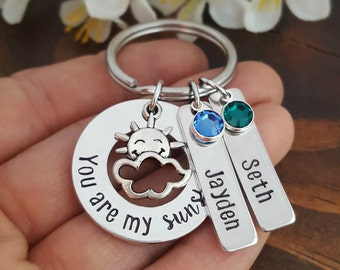 You Are My Sunshine Personalized Mommy Keychain | Mothers Key chain with kids names | Gifts For Mom | Grandma Key chain | Sunshine Keychains