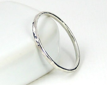 Sterling Silver Knuckle Ring, Stacking Ring, Hammered Ring, Pinkie Rings, Sterling Silver Jewellery