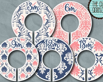 Baby Closet Dividers - Clothes Organizers - La Boutique Pink & Navy