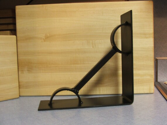 Industrial Iron Shelf Bracket Semi Flat Black Finish Steel