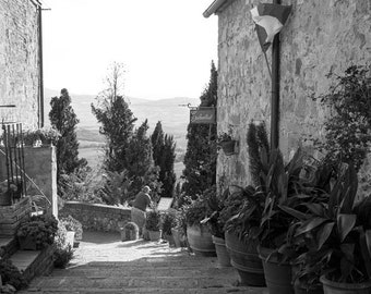 Italy photography black and white prints, Italy wall art prints, Italy wall decor, Tuscany prints, Pienza prints, Tuscany wall art, Italy