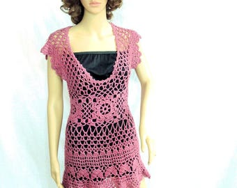 Sexy hand crochet dress mini beach cover up summer clothing boho top gypsy loose knit tunic sweater