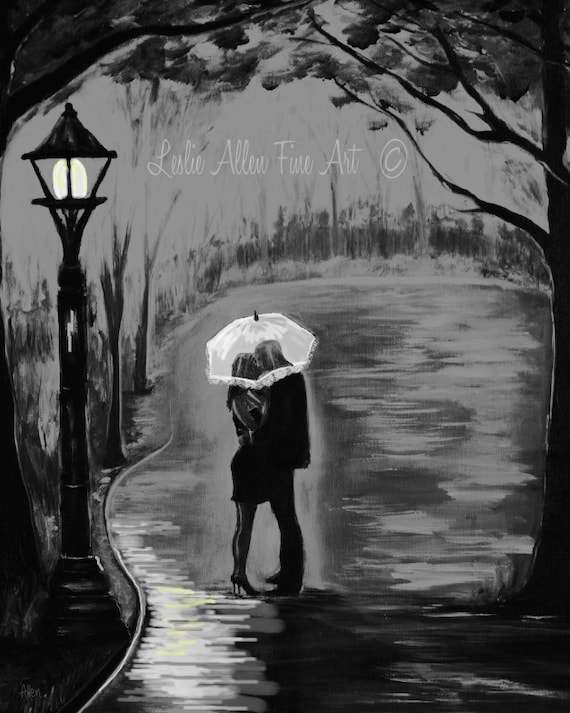 Items similar to couple in love couple painting couple hugging romantic art print romance loving special moment ideal valentine leslie allen fine art on