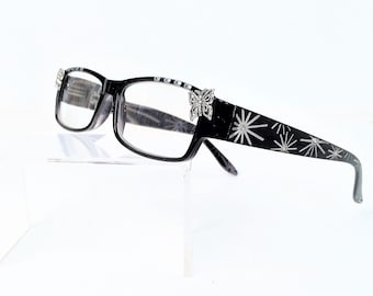 Reading glasses with butterfly, readers +3.00